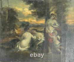 N1-020. Scene Mitologica. Sketch. Oil On Wood. Century Xviii-xix