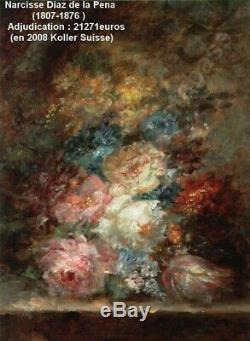 N. Diaz De La Pena 1807-1876. Bright & Beautiful Still Life Flowers