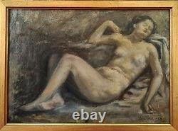 Naked Of A Woman. Oil On Table. Jaime Martrus Riera. 1952