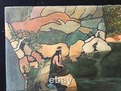 New Art Large Painting On Wood Signed Illegible 90 CM By 47.7 Circa 1900