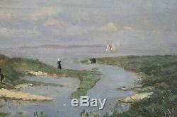 Nineteenth Century, Led Seaside, Sailing, Cows, Signed Identify
