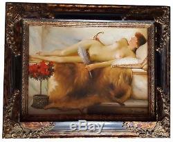 Nu Erotique, Orientalist Portrait, + Wooden Frame