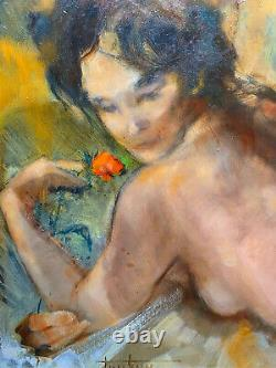 Nude Painting Of Woman With Rose Vahiné By Roger Thalamy (born 1927) + Frame