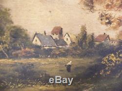 Oil On Canvas Against Glue On Wood School Barbizon Signed L Lebrun XIX