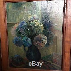 Oil On Canvas - Bouquet Of Hydrangeas Wooden Frame