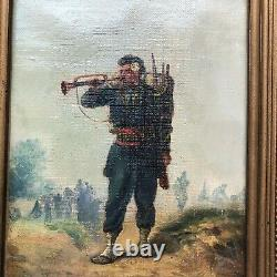 Oil On Canvas By Emile Bujon The Trumpet 19 Eme Century Frame Wood Dore No. 1