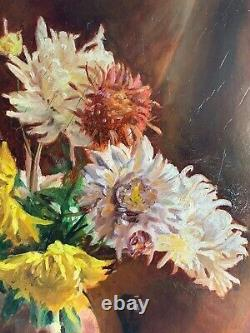 Oil On Canvas Early 20th, Sublime Bouquet Of Flowers Signed By K. Itier