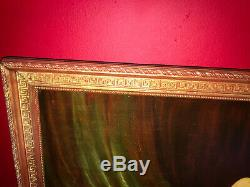 Oil On Canvas From The Late Nineteenth Nude Female Gilded Wooden Frame