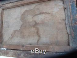 Oil On Canvas Late 16th / Early 17th Century Christ Original Carved Wood Frame
