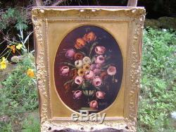 Oil On Canvas Nineteenth Century Bouquet Of Flowers Signed Golden Wood Frame