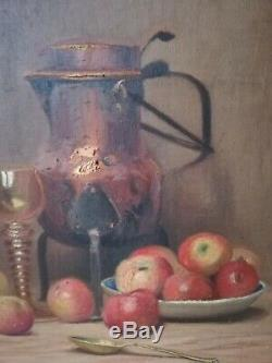 Oil On Canvas Painting French School Still Life With Fruit Wood Frame