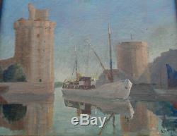 Oil On Canvas Port Of La Rochelle Frame Golden Wood Signed Leonard 38