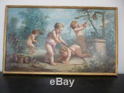 Oil On Canvas Putti Children Gardener 18 Century Frame Wood Dore