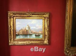 Oil On Canvas View Of Venice Beautiful Nineteenth Gilt Wood Frame