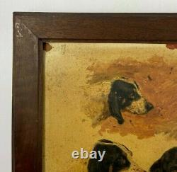 Oil On Cardboard 4 Hunting Dogs 1900 Natural Wood Frame B3018