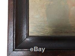 Oil On Marine Panel By Leon Zeytline Boat On Mist Wood Frame