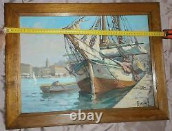 Oil On Marine Panel Port Boat - Boat Painting Signed Breval
