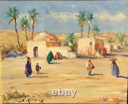 Oil On Orientalist Wood By Bruno Retaux Le Marabout Very Beautiful Frame