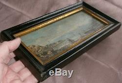 Oil On Panel Miniature Marine XIX Lake & Boats Signed Black Frame