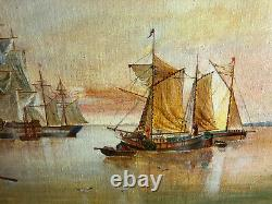 Oil On Panel, Old Navy Scene Accompanied By Its Gilded Frame