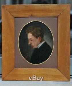 Oil On Panel Superb Portrait 19th Signed H. D