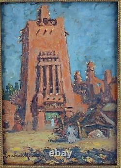Oil On Panel View Timbuktu Signed Lombard Morand Orientalist
