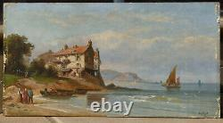 Oil On Sign, Signed A. Gins, Scene Of A Village By The Sea