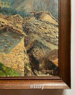 Oil On Web Landscape Mountain Refuge Tavani 1900 Natural Wood Frame H2491