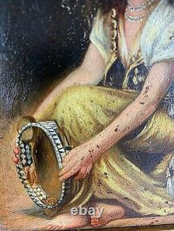 Oil On Wood Orientalist The Young Woman With The 19th-century Tambourine