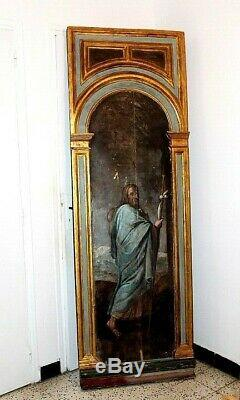 Oil On Wood Painting Christ High Time Pilgrim Height 2,20 M