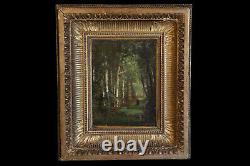 Oil On Wood Panel, 19th Century Gilded Wood Frame / Oil On Panel, Guilded Wood
