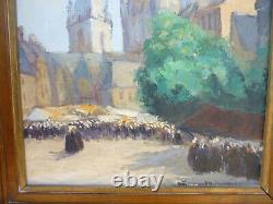 Oil On Wood Panel Alexandre Gaillard Deschamps Marche A Guingamp Brittany