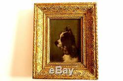 Oil On Wood Panel Nineteenth Dog Portrait Jules Chardigny 1842-1892-et / Eb Ch