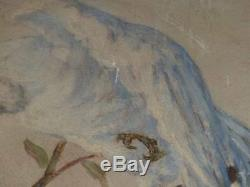 Oil On Wood Signed Andre Jallot / Parrot On A Cherry Art Deco Ca 1930
