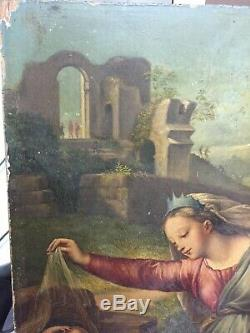 Oil On Wood Xixth Italian School Child Jesus, Mary And John The Baptist