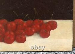 Oil Painting Dead Nature At Cherries Patrick Le Flohic (born 1957) 20th