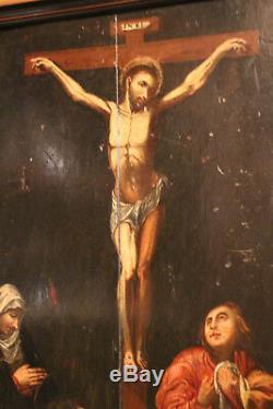 Oil Painting On Panel 17th Century Jesus Christ On The Cross Painting