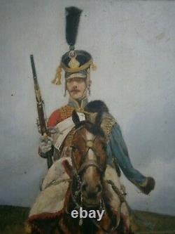 Oil Painting On Wood 19 ° S 1st Cavalry Military Empire Napoleon Deco Old