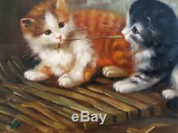 Oil Painting On Wood Carvers & Gilders 2 Kittens Picture Makers England