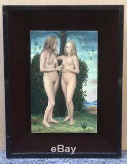Oil Painting Portrait Nude Landscape Women Primitive Quellier André (1925-2010)