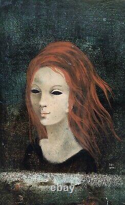 Oil Painting Portrait Woman Rousse Frame Mrs. Mouton Dite Tes 1964