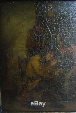 Oil S / Timber Framed 19th Tavern Scene Of Dutch Style