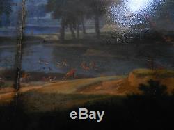 Oil XVII Hand-sawn Panel Chasse Aux Cerfs Dgoutadriaen Van Stalbemt