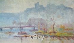 Oil-painting-impresionniste-landscape-bridge River-city Mist