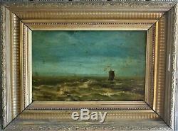 Oil-painting-landscape-diving Sea-boat-storm-framework Monogram