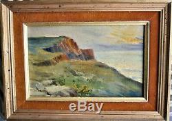 Oil-painting-painting-landscape-cliff-sea-impressionist-end XIX E Crepuscule