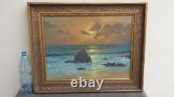 Old Beautiful Oil Painting On Wood Coucher De Soleil Maritime Signed M Chapuis