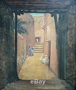 Old Hsp Painting Animated Street Scene Orientalist Medina Morocco 1900