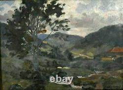 Old Mountain Landscape Oil Painting By Jean Didier-tourné (1882-1967)