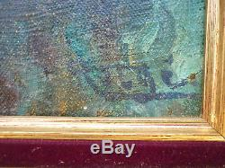 Old Oil On Canvas Nude Naked Woman And Swimming On Sous Bois Signed